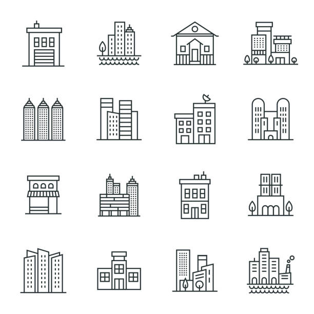 buildings icon set - konstrukcja budowlana stock illustrations