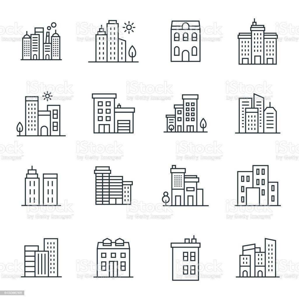 Buildings Icon Set vector art illustration