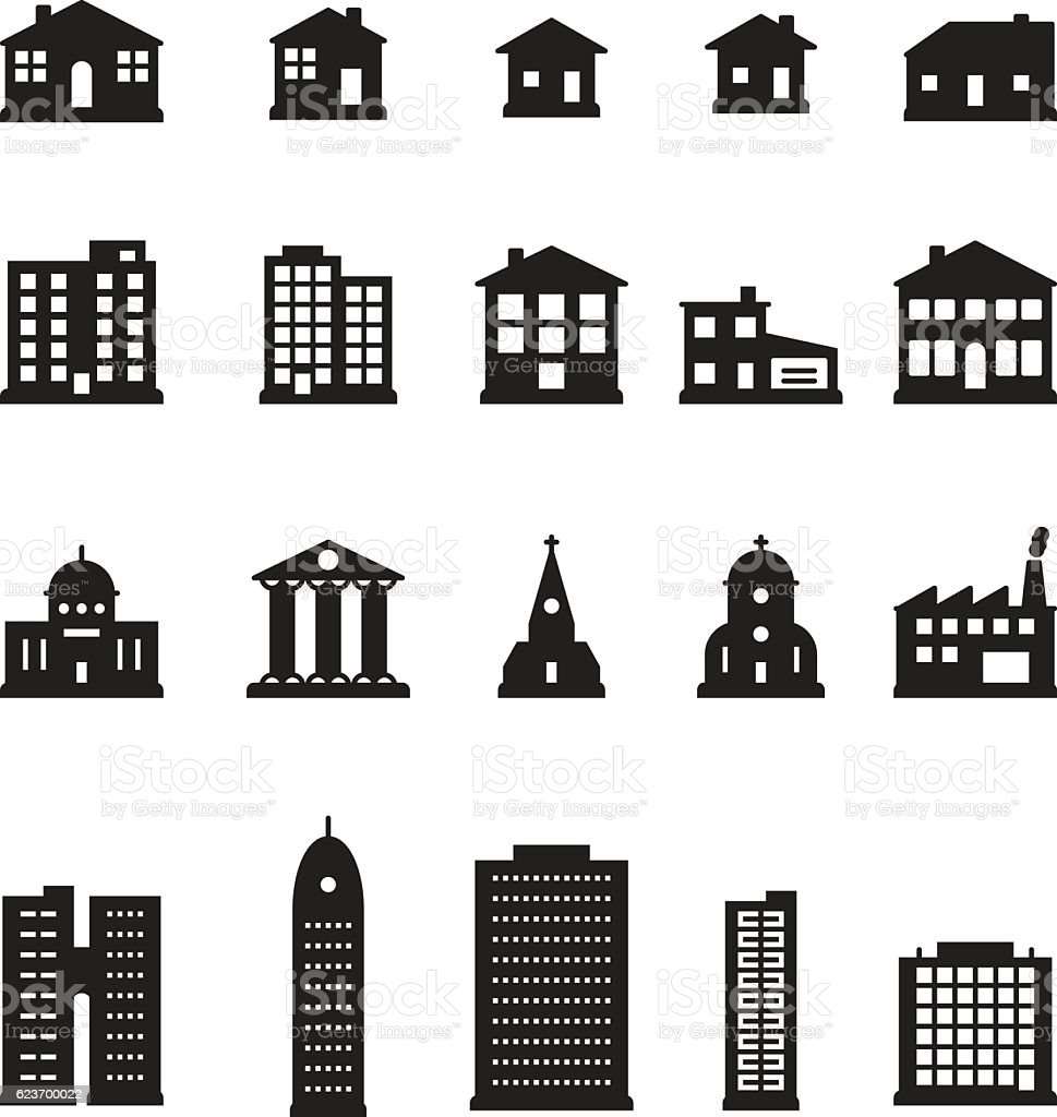 Buildings icon set. Vector. royalty-free buildings icon set vector stock illustration - download image now