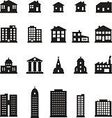 Buildings icon set. Vector.