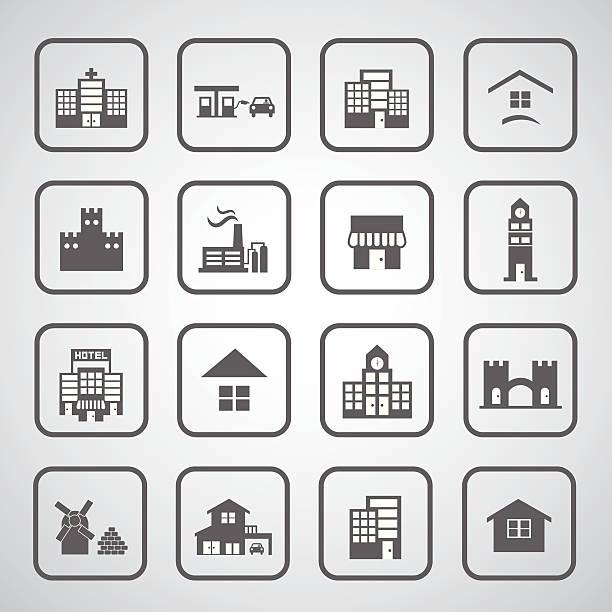 ilustraciones, imágenes clip art, dibujos animados e iconos de stock de icono de edificios - suministros escolares