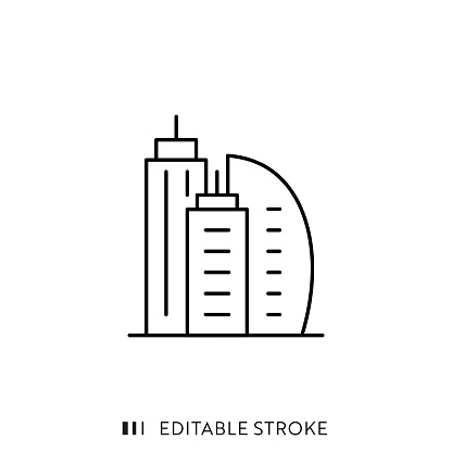 Buildings Icon with Editable Stroke and Pixel Perfect.