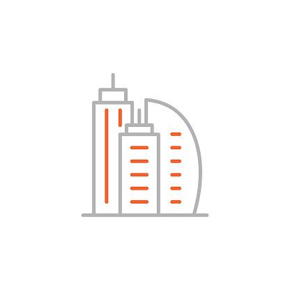 Buildings Icon with Editable Stroke