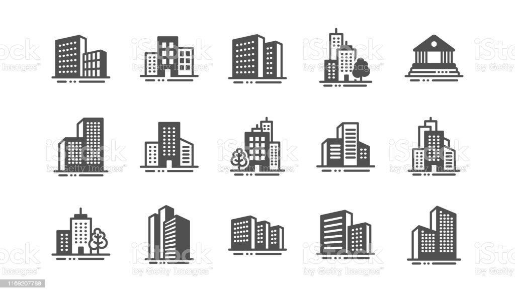 건물 아이콘입니다. 은행, 호텔, 법원. 도시 건축, 마천루 건물. 벡터 - 로열티 프리 0명 벡터 아트