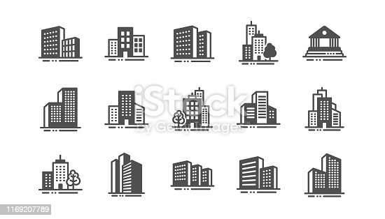 istock Buildings icons. Bank, hotel, courthouse. City architecture, skyscraper building. Vector 1169207789