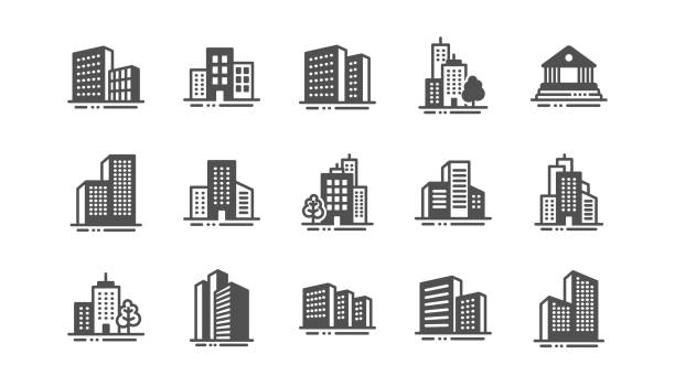 Buildings icons. Bank, hotel, courthouse. City architecture, skyscraper building. Vector Buildings icons. Bank, Hotel, Courthouse. City, Real estate, Architecture buildings icons. Hospital, town house, museum. Urban architecture, city skyscraper. Classic set. Quality set. Vector building exterior stock illustrations