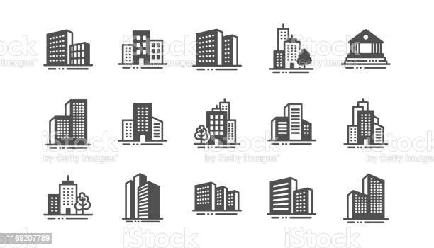 건물 아이콘입니다 은행 호텔 법원 도시 건축 마천루 건물 벡터 0명에 대한 스톡 벡터 아트 및 기타 이미지