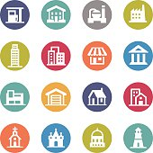 Buildings Icons - Circle Series
