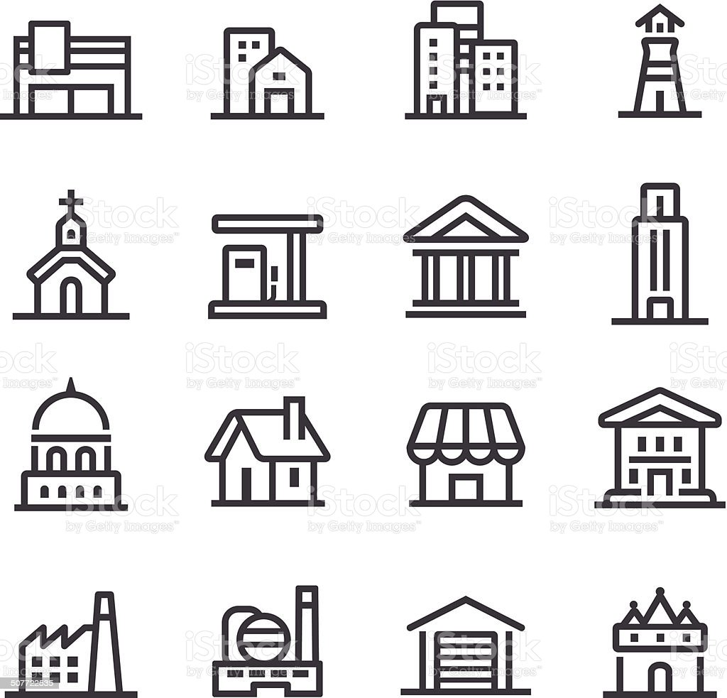 Buildings Icons - Line Series vector art illustration