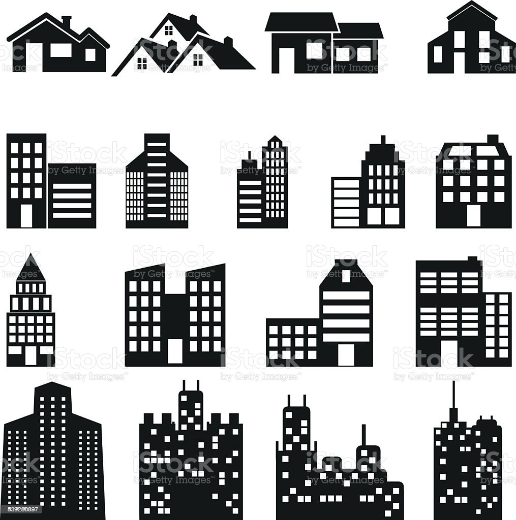 Buildings icons. Real estate. vector art illustration
