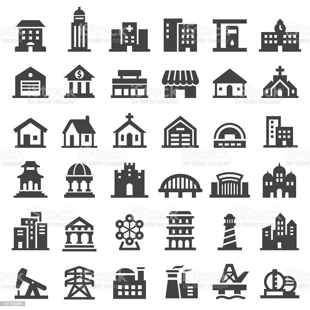 Buildings Icons Set - Big Series