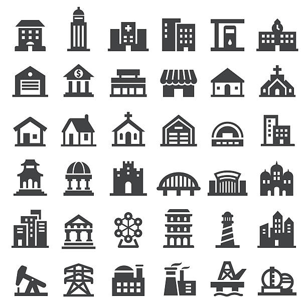 Buildings Icons Set - Big Series Buildings Icons place of worship stock illustrations