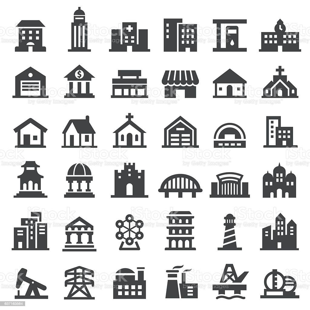 Buildings Icons Set - Big Series vector art illustration