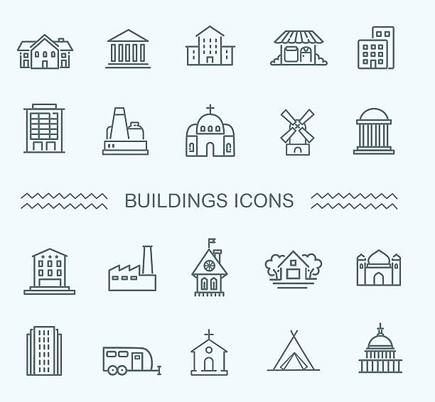 buildings icons set - köy stock illustrations