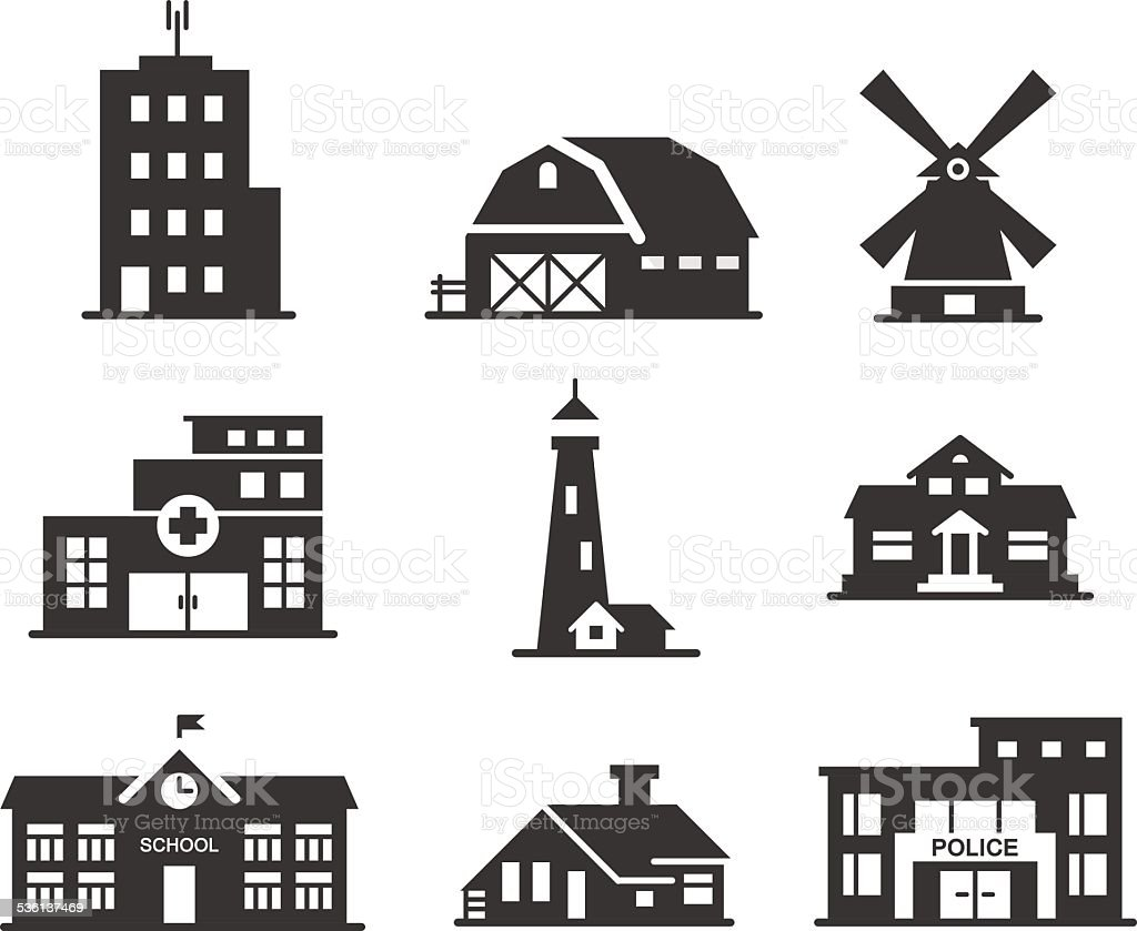 Buildings icons set vector art illustration