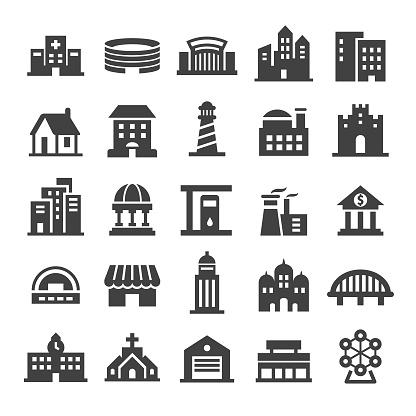 Buildings Icons Smart Series — стоковая векторная графика и другие изображения на тему Архитектура