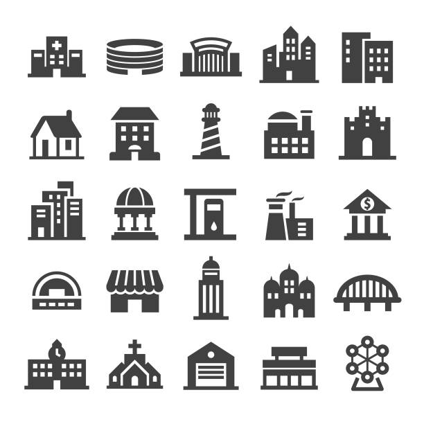 buildings icons - smart series - architecture symbols stock illustrations
