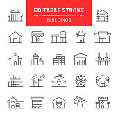 House, building, outline, editable stroke, real estate, icons, icon set, architecture, stadium