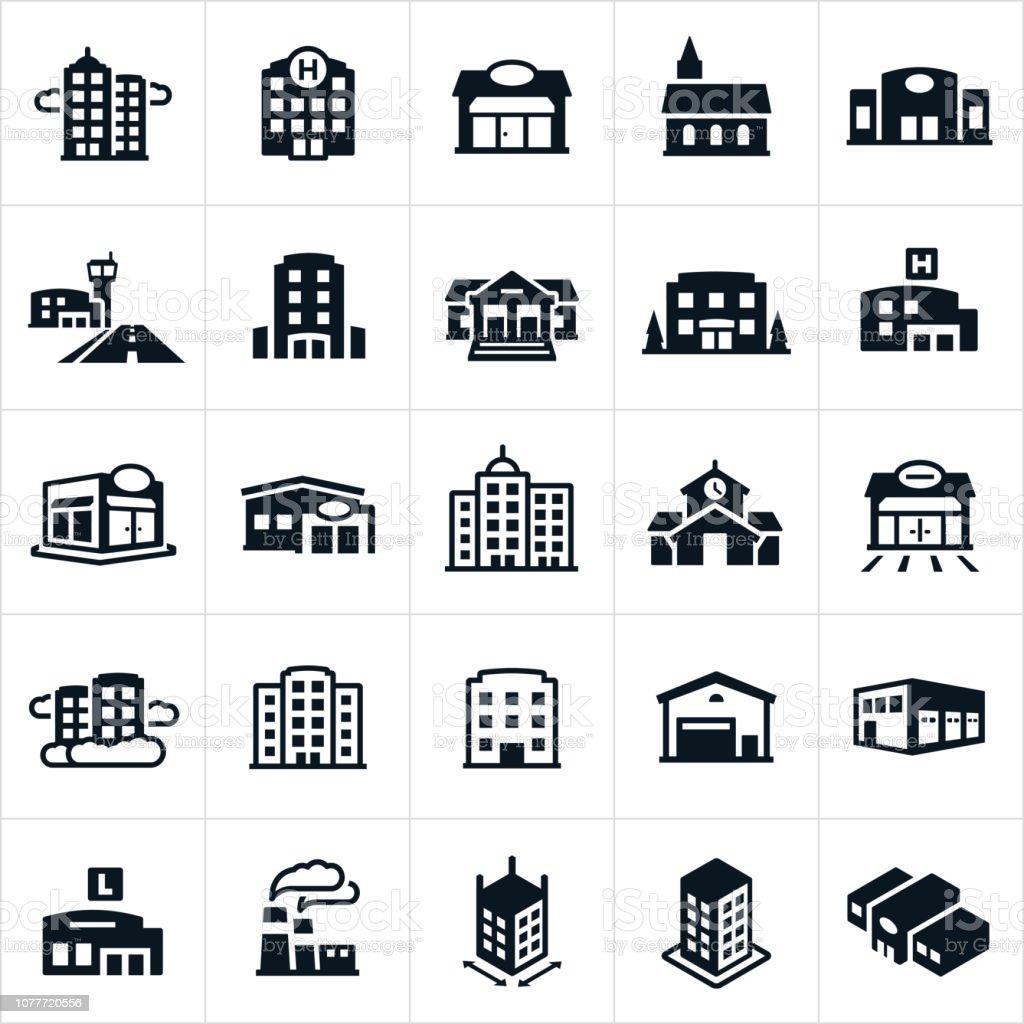 Buildings Icons - Royalty-free Aeroporto arte vetorial