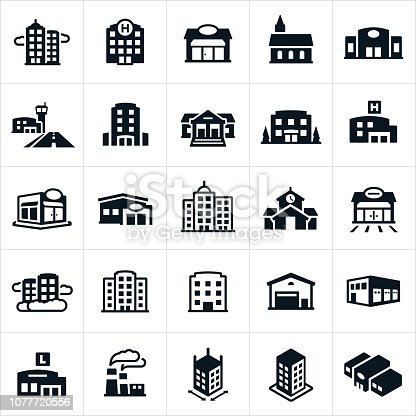An icon set of several different types of buildings. They include a skyscraper, business building, hospital, shop, storefront, church, auto dealership, airport, hotel, courthouse, bank, apartment building, medical clinic, restaurant, credit union, business district, school building, gas station, warehouse, distribution warehouse, library, factory and department store among others.