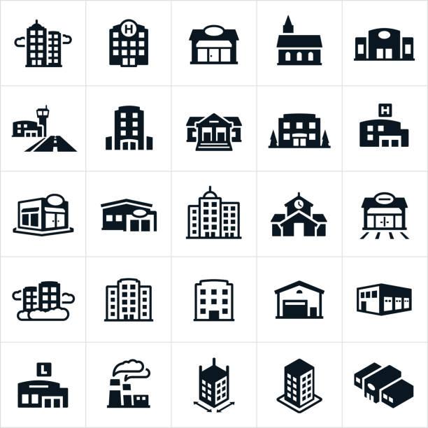 ilustrações, clipart, desenhos animados e ícones de ícones de edifícios - banco edifício financeiro