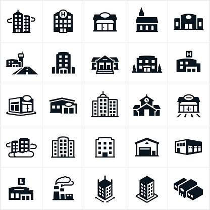 building icons stock illustrations