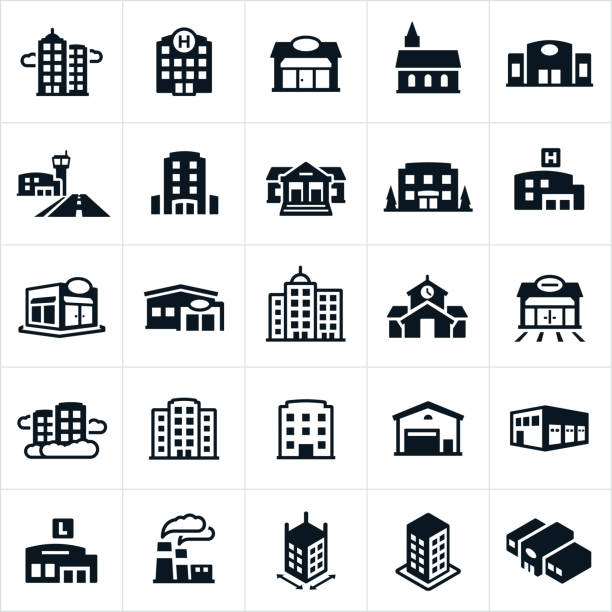 Buildings Icons An icon set of several different types of buildings. They include a skyscraper, business building, hospital, shop, storefront, church, auto dealership, airport, hotel, courthouse, bank, apartment building, medical clinic, restaurant, credit union, business district, school building, gas station, warehouse, distribution warehouse, library, factory and department store among others. school building stock illustrations