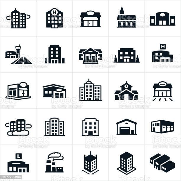 Buildings Icons - Arte vetorial de stock e mais imagens de Aeroporto