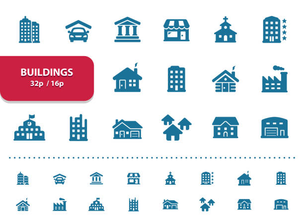 Buildings Icons (2x magnification for preview) Professional, pixel perfect icons, EPS 10 format, optimized for 32p and 16p (2x magnification for preview). villa stock illustrations