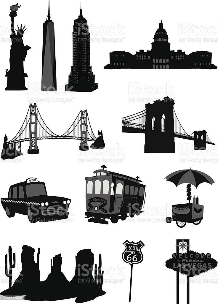 USA Buildings Icons vector art illustration