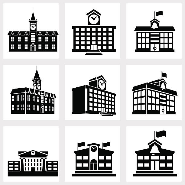 Buildings icons Icons for school on a white background schoolhouse stock illustrations