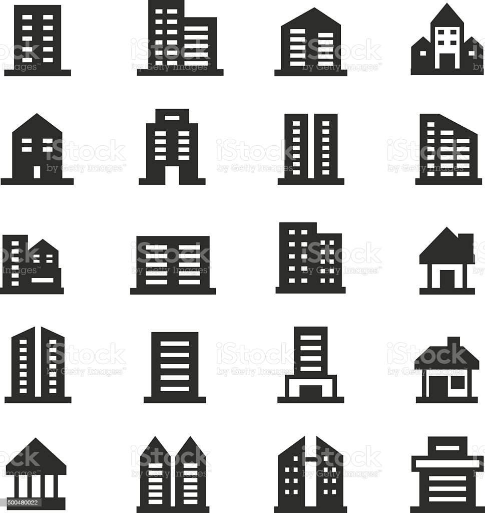Buildings icons vector art illustration