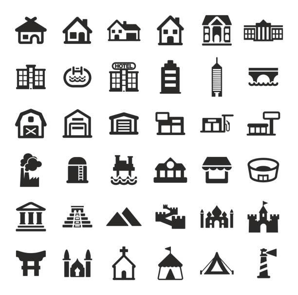 gebäude symbole - dachzelt stock-grafiken, -clipart, -cartoons und -symbole