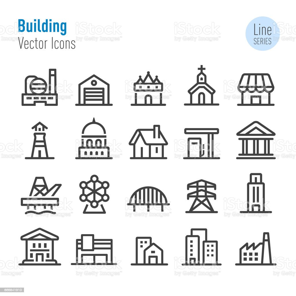 Buildings Icons - Vector Line Series