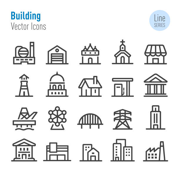 Buildings Icons - Vector Line Series vector art illustration