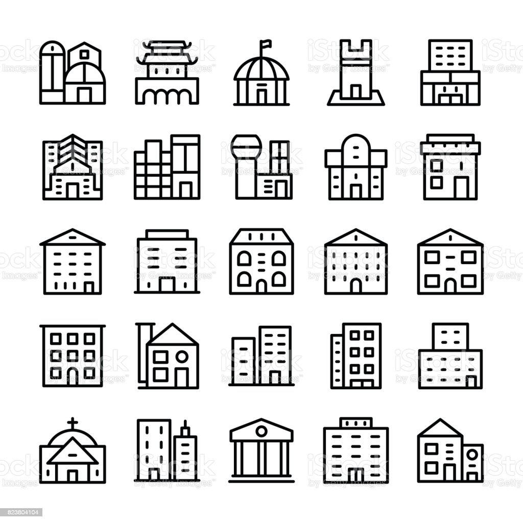 Buildings, Landmarks Line Vector Icons 11 vector art illustration