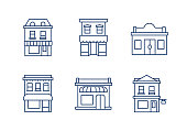 Buildings linear icons.Editable stroke. eps 10