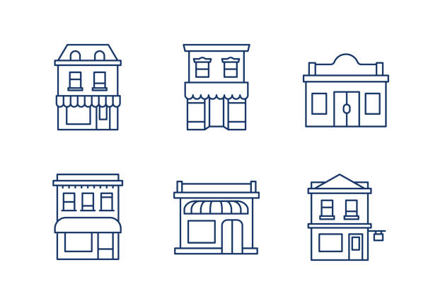 buildings linear icons.editable stroke. - деловой центр города stock illustrations