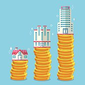 Buildings on stack of coins