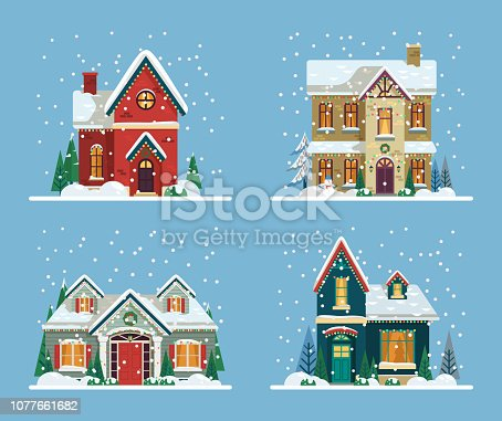 Set of isolated decorated buildings for 2019 new year and christmas. Building with snowman and fir tree at yard, construction facade with lanterns for xmas. Holiday and celebration,winter architecture