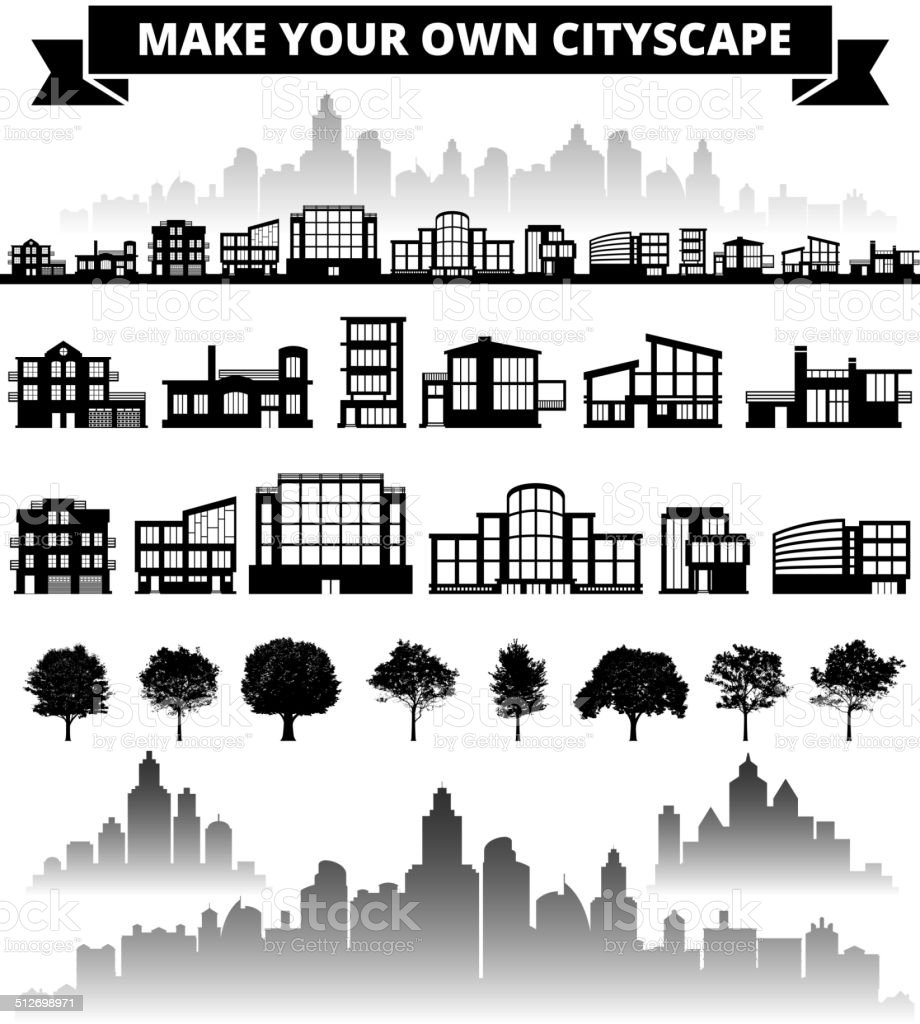 Buildings panoramic city skyline Background Set royalty free vector art vector art illustration