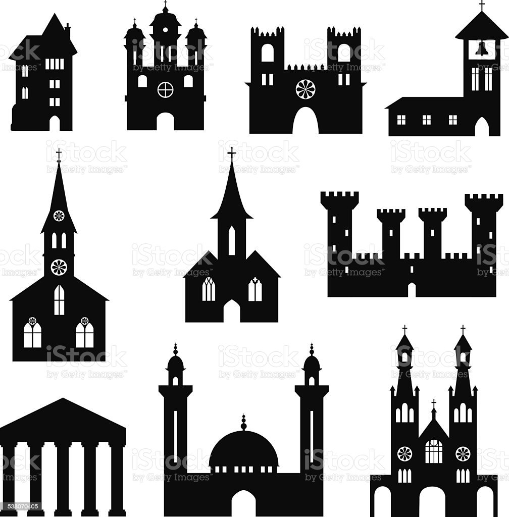 Buildings - set of silhouette churches and castles vector art illustration