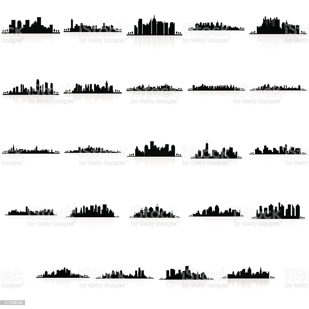 Buildings silhouettes vector art illustration