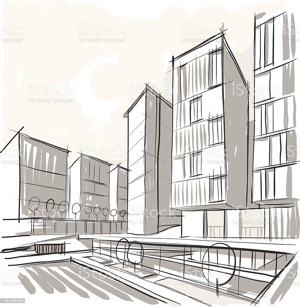 Architektur Skizze Lizenzfreies Stock Vektor Art Und Mehr Bilder Von