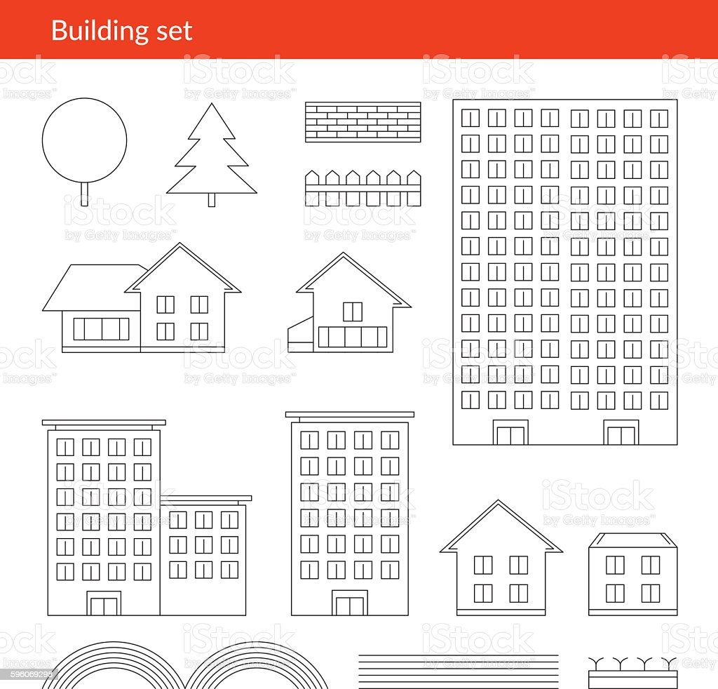 Buildings thin icons. Vector line  of royalty-free buildings thin icons vector line of stock vector art & more images of apartment