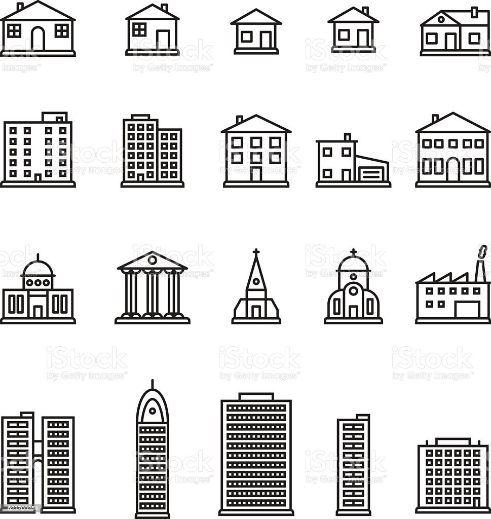 Buildings thin line icon set. Vector. royalty-free buildings thin line icon set vector stock illustration - download image now