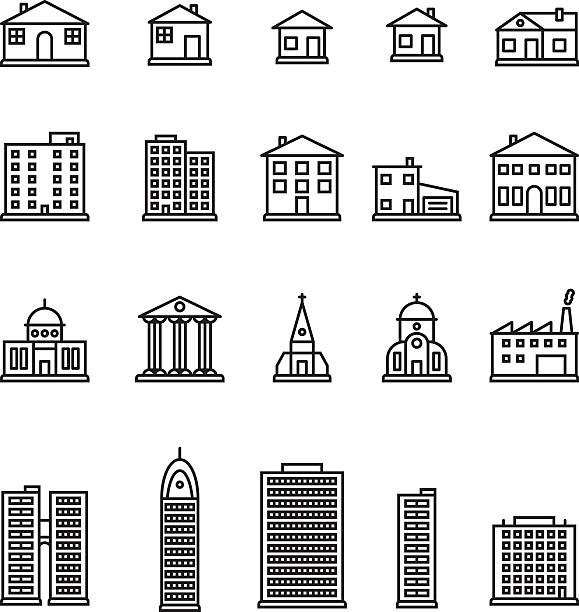 Buildings thin line icon set. Vector. vector art illustration