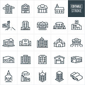 A set of buildings icons that include editable strokes or outlines using the EPS vector file. The icons include a high rise business building, skyscraper, hospital building, general store, church building, airport, hotel, bank, business building, health clinic, restaurant, retail store, school building, gas station, credit union, city building, corporate building, warehouse, factory and additional buildings.