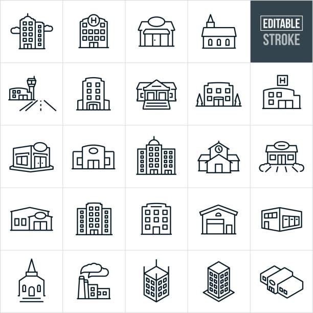 budynki thin line ikony - edytowalny obrys - biznes stock illustrations