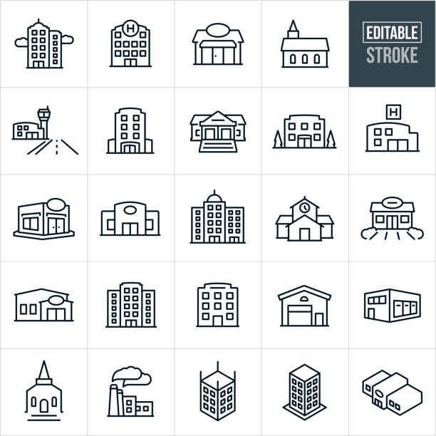 Buildings Thin Line Icons - Editable Stroke A set of buildings icons that include editable strokes or outlines using the EPS vector file. The icons include a high rise business building, skyscraper, hospital building, general store, church building, airport, hotel, bank, business building, health clinic, restaurant, retail store, school building, gas station, credit union, city building, corporate building, warehouse, factory and additional buildings. building exterior stock illustrations